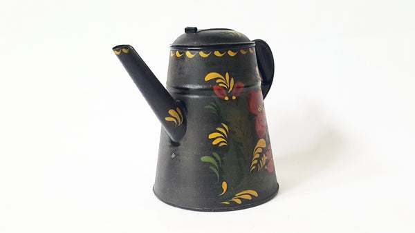 Antique Tin Tole Painted Coffee Pot With Crafted Rolled Tab Lid