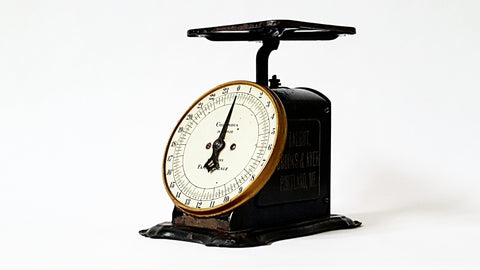 Antique Columbia Family Scale Pat. 1906 with Double-Sided Talbot, Brooks & Ayer Advertising