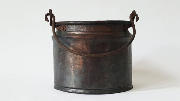 Early Hand-Forged Copper Cauldron Kettle - Dovetail Seam - Iron Bail Handle