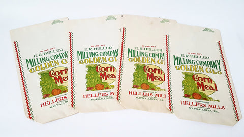 Vintage Corn Meal Advertising Sack Bags Golden Glo - Hellers Mills