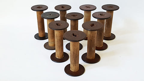 Vintage Wooden Textile Spools - Collection of 10