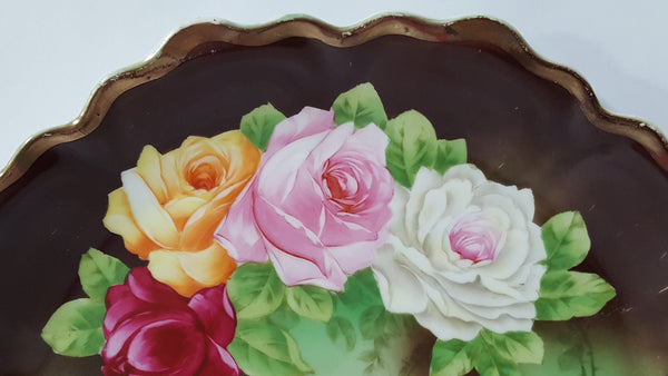 Early Large Hand Painted Vienna Porcelain Scalloped Plate Rose Medley - Artist Signed Grandjean