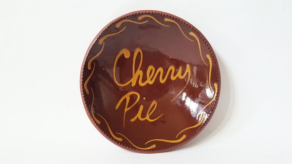 Foltz Pottery Redware Slip Decorated Cherry Pie Plate - 1984