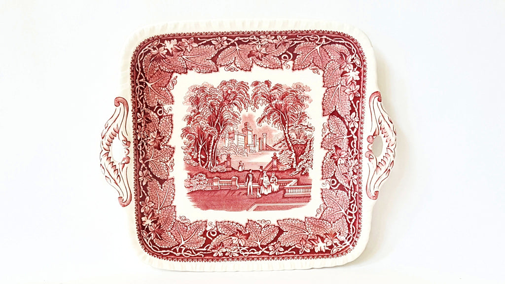 "Mason's 11"" Square Open Handled Cake Plate - Vista Pink/Red Pattern"