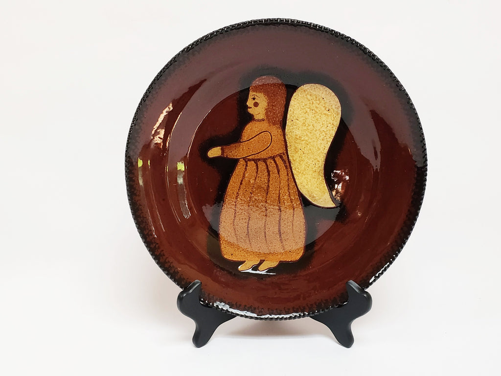 "Redware Glazed Pottery Plate 11"", Christmas Angel - by Ned Foltz -1995"