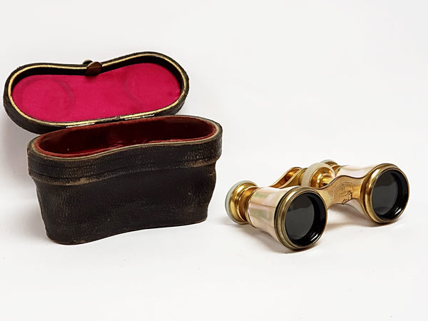 Deraisme FI Paris Mother of Pearl and Brass Opera Glasses With Case