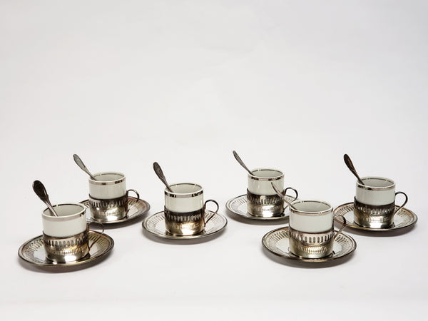 Bellini Demitasse Espresso Cups,Silverplate Holders, Saucers & Spoons - Set of 6