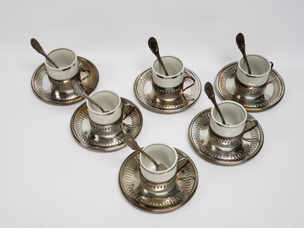 Bellini Demitasse Espresso Cups, Silverplate Holders Saucers & Spoons - Set of 6