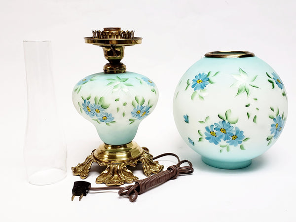 Hand Painted Electrified Gone With The Wind - 3-Way Parlor Lamp - Blue Daisies