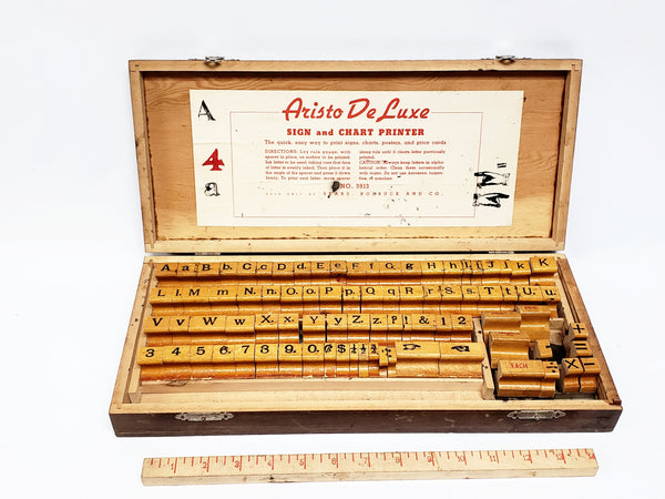 Vintage Aristo De Luxe WoodBlock Stamping Printing Set