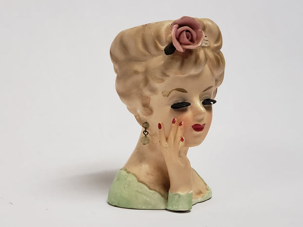 Vintage 1961 INARCO Lady Head Vase Raised Hand Pink Rose E-193/S/B