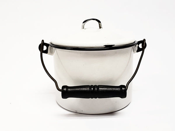 Vintage Small White Enameled Berry Bucket w/ Lid and Bail Handle