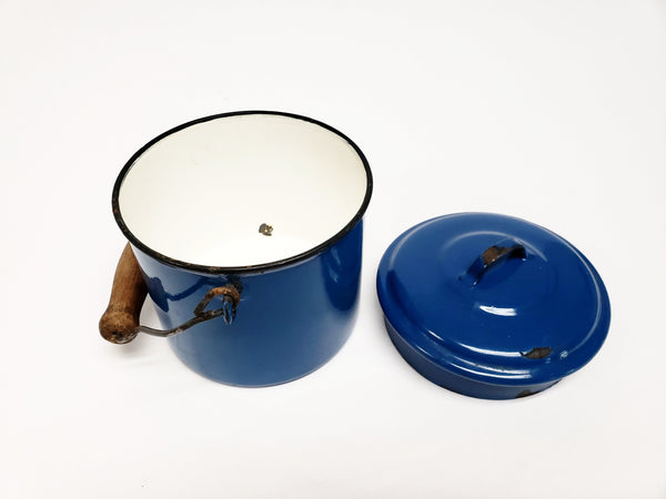Vintage Lampart Blue Enamelware Berry Bucket With Bail Handle