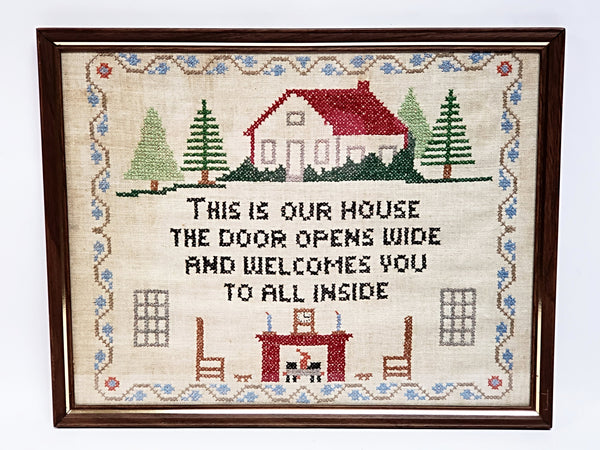 Vintage Hand Crafted Cross Stitch Embroidery Sampler -  This Is Our House The Door Opens Wide