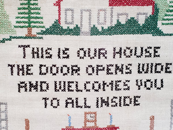 Vintage Cross Stitch Embroidery Sampler -  This Is Our House The Door Opens Wide