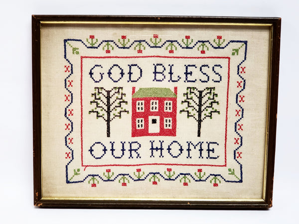 Vintage Cross Stitch Embroidery Sampler - God Bless Our Home