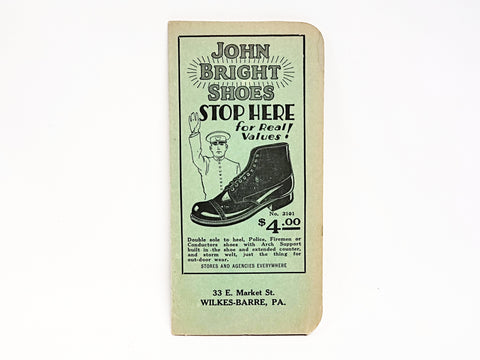 1920's John Bright Shoes Advertising Pocket Notebook NOS, Wilkes-Barre, Pennsylvania