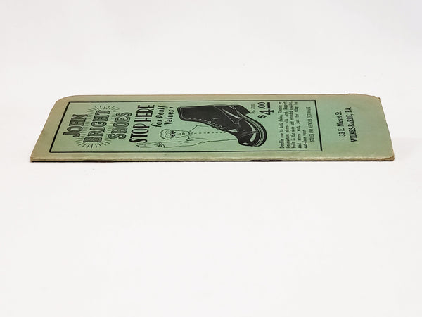 Early John Bright Shoes Advertising Pocket Notebook NOS, Wilkes-Barre, Pennsylvania ~ 1920's