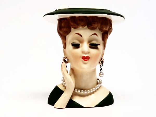 Lucille Ball Lady Head Vase - Dressed in Green ~ 1950's