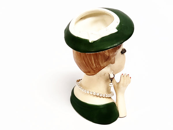 Vintage Lady Head Vase - Dressed in Green ~1950's