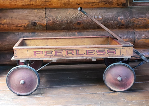 Antique Peerless Wooden Pull Wagon by Paris Manufacturing Co.
