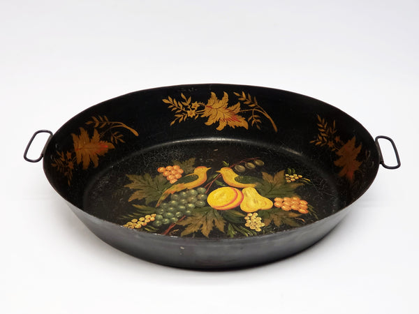 Tole Painted Double Handled Deep Skillet Pan - Birds and Fruit