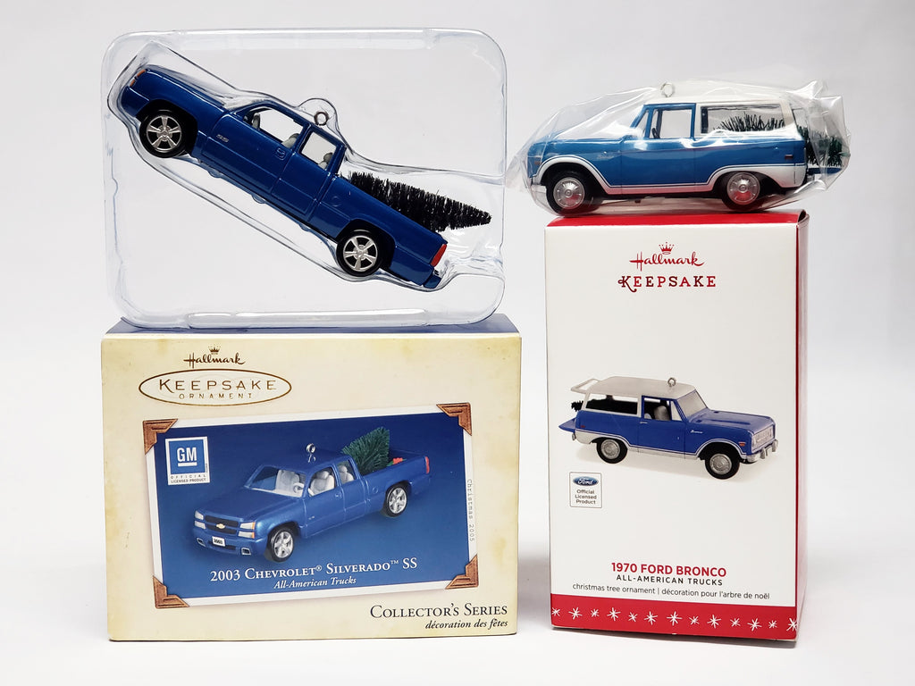 Hallmark Keepsake Ornaments - Ford Bronco and Chevrolet Silverado SS