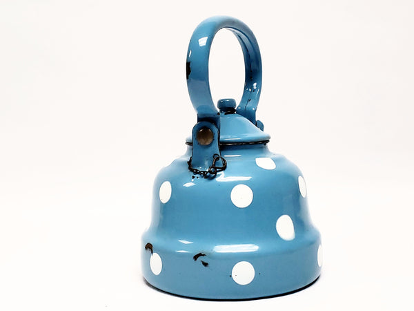 Vintage Blue With White Polka Dot Enamelware Tea Kettle Pot