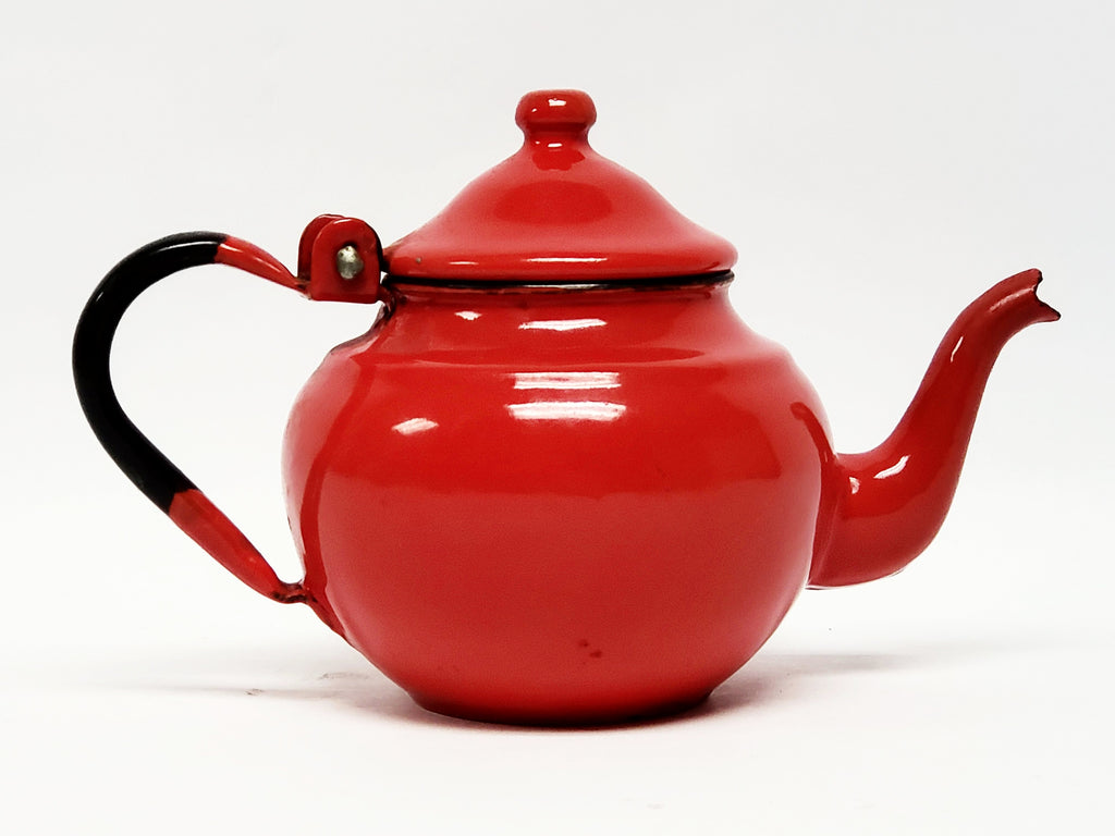 Mid-century Miniature Red Enamelware Tea Kettle Pot