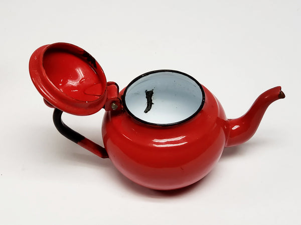 "Mid Century  4""  Miniature Red Enamelware Tea Kettle Pot"