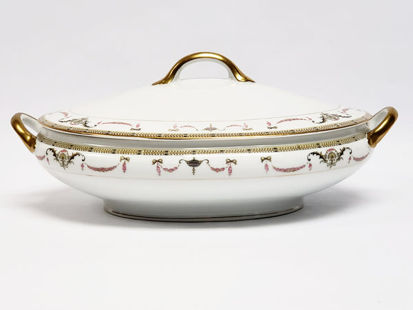 Noritake China Oval Vegetable Serving Bowl with Lid - The Sahara Pattern