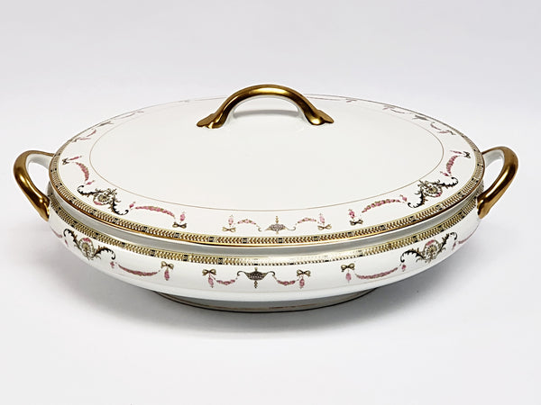 Noritake Oval Vegetable Serving Bowl with Lid - The Sahara Pattern