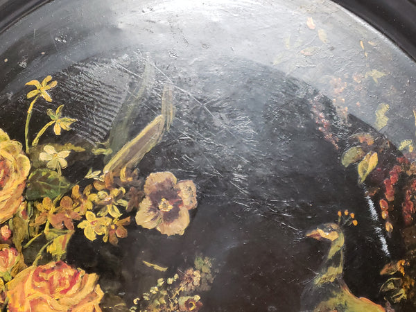 "Large 24"" Early Oval Decorated Toleware Tray - ""Peacocks and Floral"""