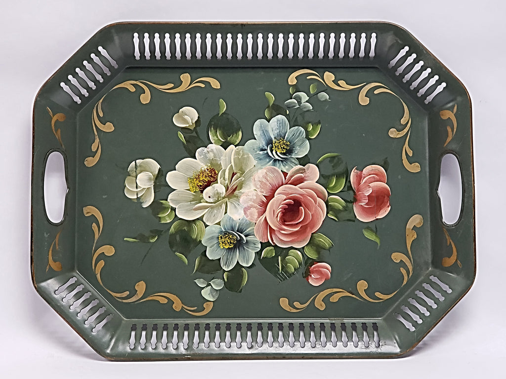 Vintage Americana Tole Tray - Green with Floral - Octagon Reticulated Edge