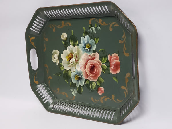 Mid Century Americana Tole Tray - Green with Floral - Octagon Reticulated Edge