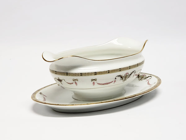 Noritake China Gravy Boat with Attached Underplate - The Sahara Pattern