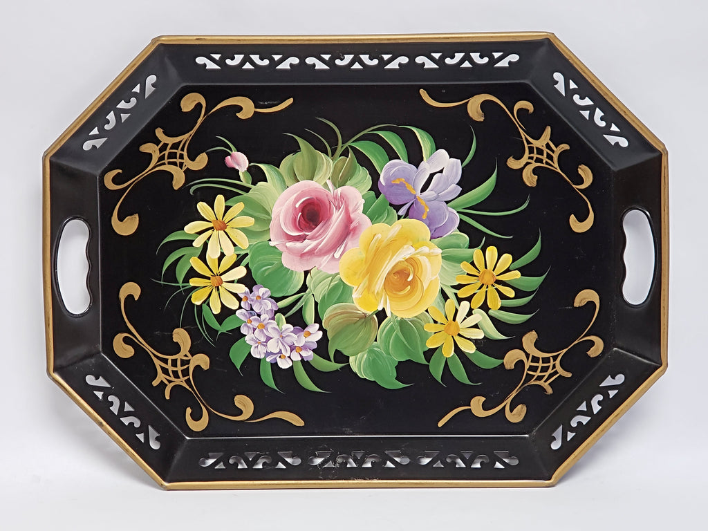 Hand Painted Octagon Tole Tray - Black and Floral -  Reticulated Edge