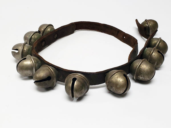 Vintage Sleigh Bells on a Leather Strap - Section of 11
