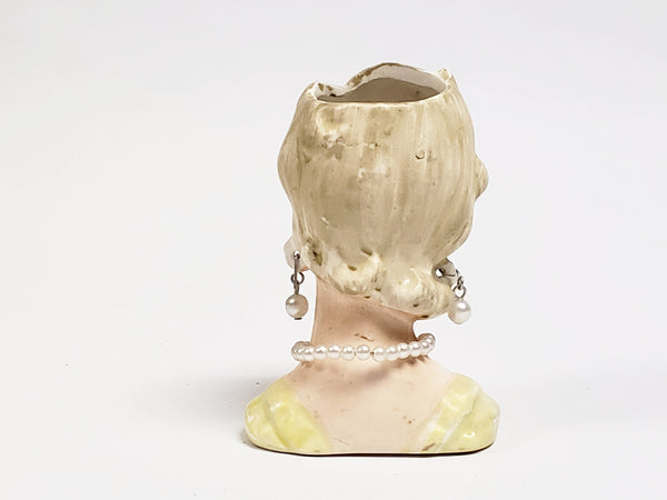 "Vintage Miniature 3"" Lady Head Vase Collectible in Yellow"