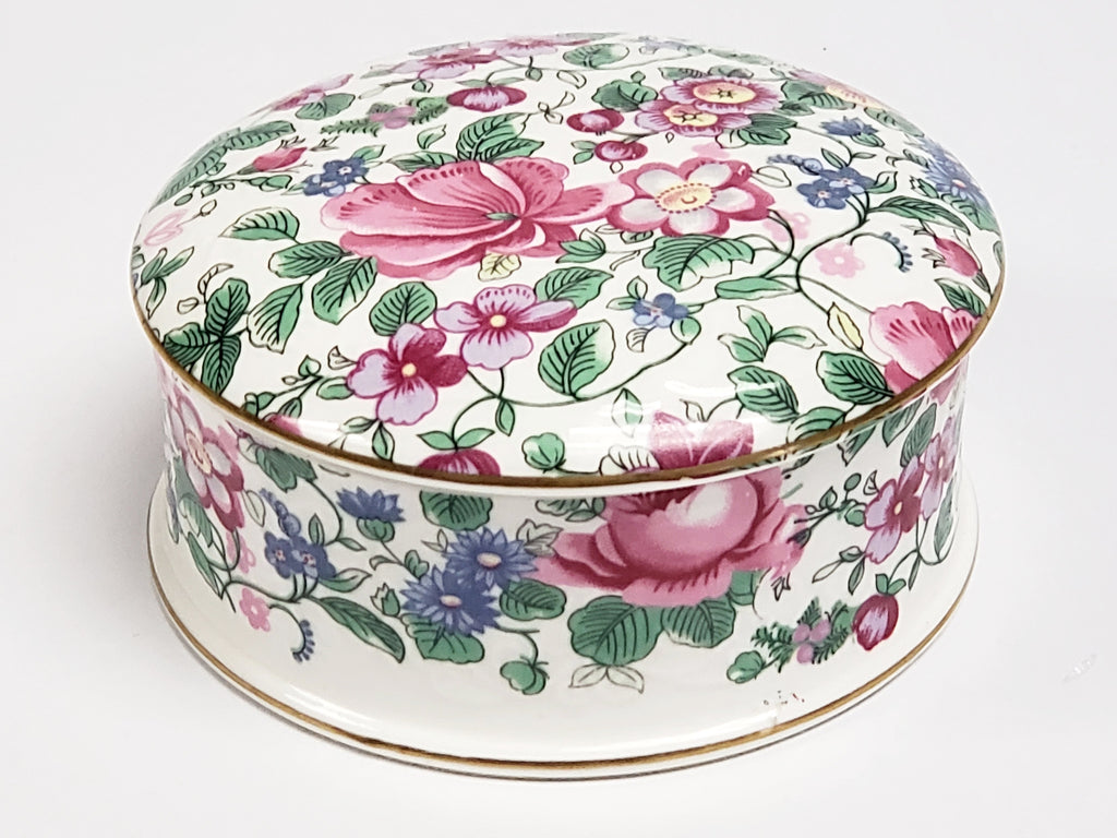 Crown Staffordshire Bone China Lidded Trinket Dish  - Thousand Flowers