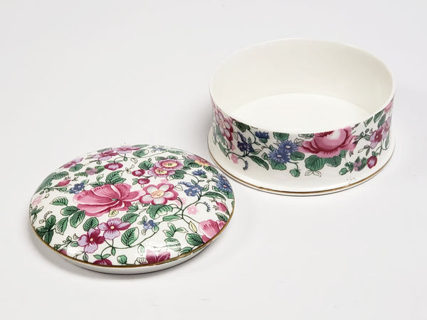 1930's Crown Staffordshire Bone China Lidded Trinket Dish  - Thousand Flowers