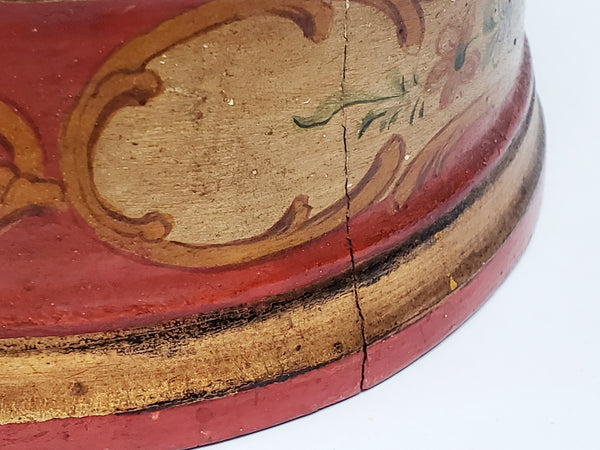 Early Polychrome Decorated Wooden Red & Gold Keepsake Box