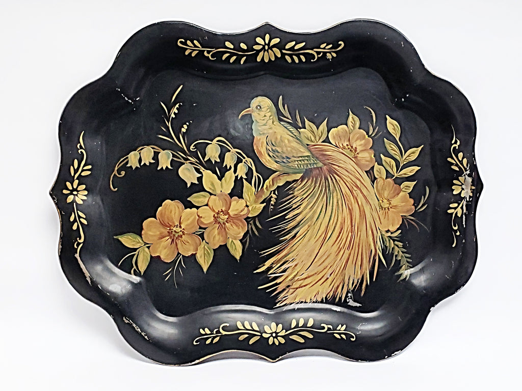 Elegant Hand-Painted Bird & Floral Tole Tray