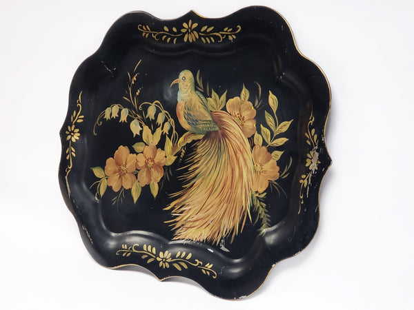 Elegant Hand-Painted Bird & Floral Tray, 20th Century