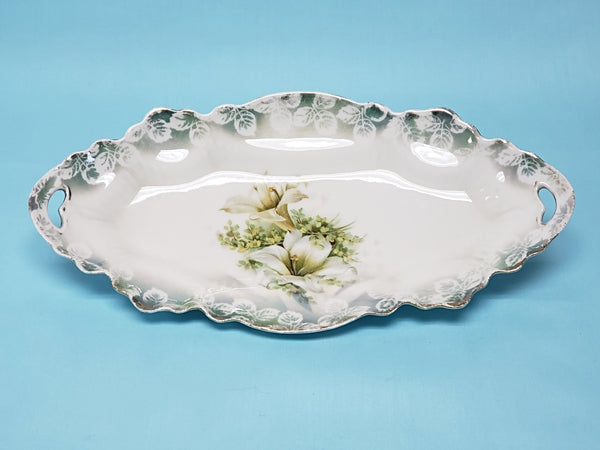 Antique RS Prussia Porcelain Relish Tray With White Lily Pattern