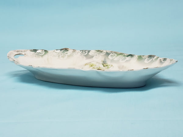 RS Prussia Porcelain Relish Tray With White Lily Pattern - Red Mark