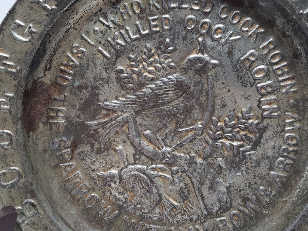 Antique Nursery Rhyme Tin Alphabet Child's Collector Plate - 1800's