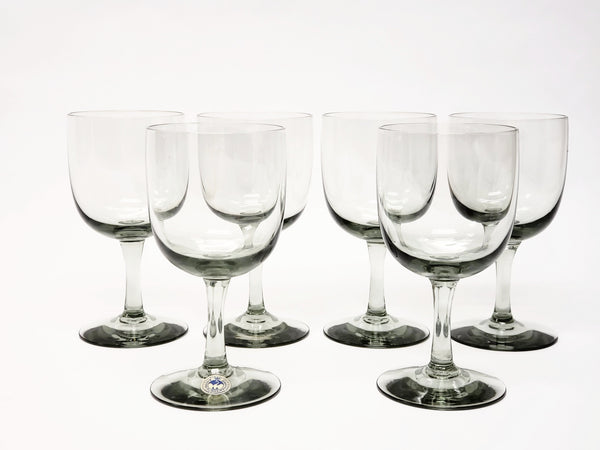Mid Century Kastrup Holmegaard Smoke Stemmed Wine Glasses - Set of 6