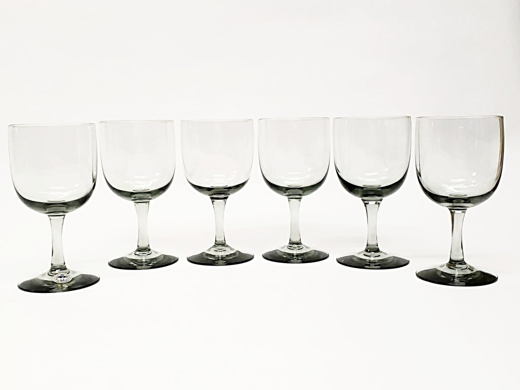 Mid Century Kastrup Holmegaard Smoke Gray  Stemmed Wine Glasses - Set of 6