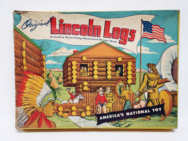 Vintage Original Lincoln Logs Set 3-LF With Original 4 Page Design Book
